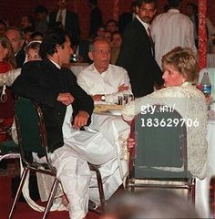 February 21, 1996: Princess Diana in a restaurant with Jemima Khan, Imran Khan and Imran Khan's father Ikramullah Khan Niazi in Lahore, Pakistan (Photo by Anwar Hussein/Getty Images)