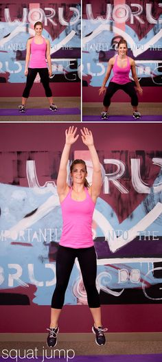 Squat Jump: Set your feet in a squatting base, with your hands behind your head, at your hips, or at your sides. Squat so your thighs are parallel to the ground and then drive up and jump as high as possible, making sure to consciously push as hard as you can through your ankles, knees, and hips. Upon landing, attempt to absorb the load of the jump by landing on the front half of your feet and then sinking back onto your heels as the hips descend into the next squat.