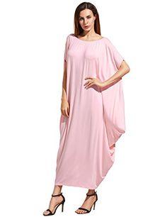 d82fb1d10bd145 Verdusa Women s Boho One Off Shoulder Caftan Sleeve Harem Maxi Dress at Amazon  Women s Clothing store