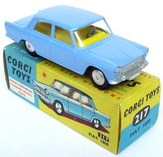 Corgi Toys No. 217. Fiat 1800. I'm sure that the one I had was two tone blue, as in the one on the box ... and had blinds in the back window?