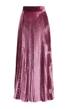 Velvet Pleated Skirt by Luisa Beccaria | Moda Operandi