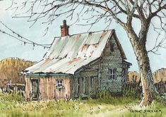 Watercolor Barns, Watercolor Architecture, Watercolor Landscape Paintings, Pen And Watercolor, Watercolor Artists, Watercolor Illustration, Watercolor Scenery, Farm Paintings, Pen And Wash