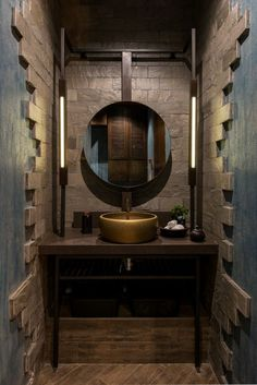 Vintage Looking Restaurant Design Has Modern Experience Neovana Design - The Architects Diary - Bathroom Remodel with stone cladding and gold cladded basin - Restaurant Bad, Restaurant Bathroom, Restaurant Interiors, Restaurant Concept, Vintage Bathrooms, Dream Bathrooms, Washroom Design, Vintage Interior Design, Vintage Restaurant Design