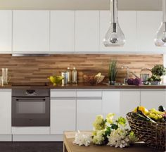 Crédence bois + meubles laqué blanc
