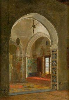 Algérie - Peintre Belge, David Emile Joseph de Noter (1825–1892),Huile sur toile,Titre: Intérieur Algerien
