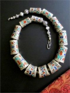 Tibetan Tribal Jewelry - Large Articulated Silver Necklace ...
