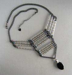 Mystic Gunmetal Chain Necklace Black Oval Dangle by CreativeMotif, $48.00