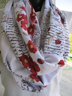 Text scarfromantic Red floral black writing by Scarves2012 on Etsy