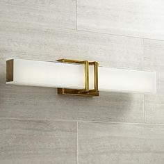 "Possini Euro Exeter 24"" Wide LED Antique Gold Bath Light"