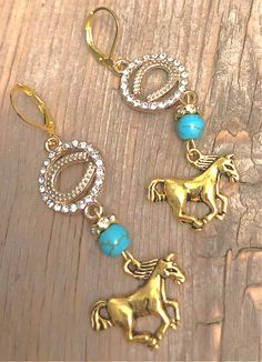 HORSE LOVER EARRINGS Handmade Antique Gold Horse Turquoise Charm Rhinestone Horseshoe Dangle Earrings