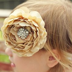 Nude beige flower headband for baby. Love the ruffle petals on this Large flower and the vintage style embellishment. Mysweetbee.etsy.com