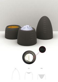 Kitchen Scales in rubber. Very clever design. Design: Jonathan Ørnstrup, Thomas Langvad Jensen, Thomas Overgaard Jørgensen, Designpartners. Winner Bodum Design Award 2012.