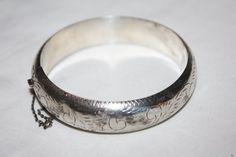 Sterling Bangle Bracelet Etched Vintage 1940s Jewelry by patwatty, $40.00