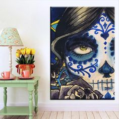 Interesting Wall Art, Home Decor Discount Outlet Teal Home Decor, Home Wall Decor, Large Scale Art, Skeleton Tattoos, Art Tutorials, Rock N Roll, Painting Prints, Art Pieces, Mexico