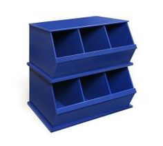 Features three open bins that can be stacked with other bins to expand your storage capacity Three bin design helps with sorting and separating items Non-toxic finish Wide mouth bin openings make it e