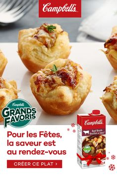 French Onion Soup Puffs Campbell's® Ready to Use Beef Broth contains only quality ingredients and natural flavors. It is seasoned to perfection to add a rich flavour to your holiday recipes. Tap the Pin to see the trend. Snacks Sains, Puff Recipe, Brunch, Yummy Food, Tasty, French Onion, Clean Eating Snacks, Holiday Recipes, Holiday Appetizers