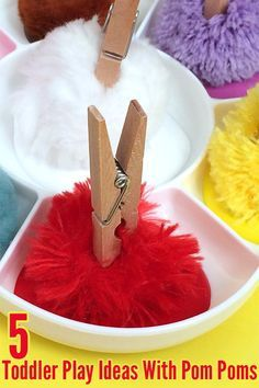 5 Toddler Play & Learning Ideas with Pom Poms