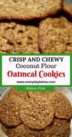Crispy around the edges and chewy in the middle, these soft and chewy coconut flour oatmeal cookies have a delicious toffee-like flavor plus they are gluten free. Keto Cookies, Cookies Sans Gluten, Coconut Flour Cookies, No Flour Cookies, Cookies Et Biscuits, Coconut Flour Desserts, Coconut Flour Biscotti Recipe, Coconut Flour Biscuits, Recipes Using Coconut Flour