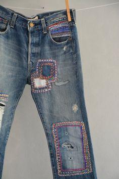 Levis Vintage 501 s Levis 501 XX Boyfriend Jeans Diy Jeans, Jeans Levi's, Patched Jeans, Jeans Button, Denim Pants, Blue Jeans, Denim Vintage, Jean Vintage, Light Denim