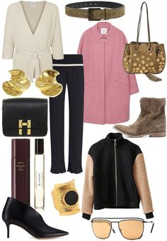 Ganni Bomber Jacket, Sophie Hulme Bag, Byredo Blanche EdP and Travel Case, Chloé Inez Bag, Pointed Ankle Boots, Pink Woal Coat, Isabel Marant Jenny Boots, Flared Pants