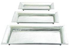 Aluminum 3 Piece Accent Tray Set