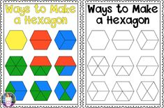 Many Ways to Make a Hexagon anchor chart freebie. Perfect for a 2D shape unit. Studying geometry and pattern blocks in 1st grade.