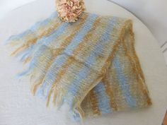 Pretty Vintage French Wool Scarf, Vintage Mohair Fashion Accessory, Blue Beige Stripe Design, Fringe Edge, Paris Chic Vintage Accessory by SweetVintageDream on Etsy