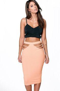 Ava Cut Side Ribbed Midi Skirt