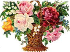 Oblaten Glanzbild scrap die cut chromo Blumen Korb 16cm flower basket Rose