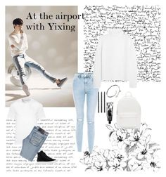 """""""Airport with Yixing"""" by outfitswithbts ❤ liked on Polyvore featuring PB 0110, Cartier, Design Letters, Vanessa Bruno, Versace, Rock & Roll Cowboy and Common Projects"""