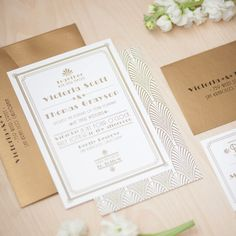 In love with this 1920's gold Art Deco wedding Invitation by JenSimpsonDesign! #artdecowedding