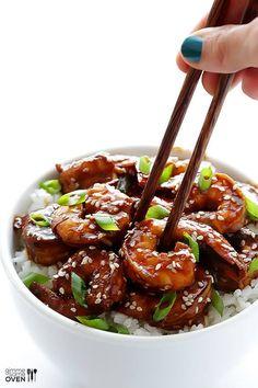 Easy Hoisin Shrimp | gimmesomeoven.com. Hoisin sauce, rice vinegar, soy sauce