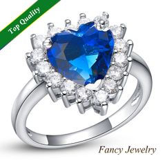 anillo de crystal 2014 New Design Micro Pave Crystal Ruby Purple Blue Pink Stone Heart CZ Charms Ring Jewelry for Wedding J461 $7.14