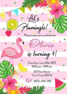 Flamingo Birthday Party Invitation Lets Flamingle Tropical Luau Hawaiian Pink Pool