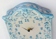 "Pendulum Clock ""Azul Line"" Pendulum Clock. Decoration in light Blue and Blue, with floral Drawning on 'vietri' Varnish. #madeinitaly #artigianato #orologiopendolo #pendulumclock"
