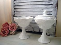Vintage Milk Glass Candy Dish Set Harvest by WillowsEndCottage, $42.00