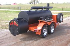 "Double Door Horizon Smoker Trailer with signature ""Flame"" on the firebox. Bbq Smoker Trailer, Bbq Pit Smoker, Barbecue Grill, Grilling, Carne Asada, Custom Bbq Grills, Oil Drum Bbq, Custom Smokers, Smoker Cooker"