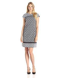 Jones New York Women's Cutout Back Dress, Black/White, 6