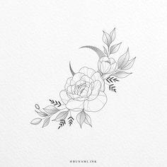 Mini Tattoos, Body Art Tattoos, Sleeve Tattoos, Small Tattoos, Floral Tattoo Design, Flower Tattoo Designs, Peony Drawing, Floral Drawing, Hip Tattoos Women