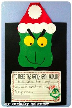A Cupcake for the Teacher: A Grinchy Freebie :) - Holidays Events Christmas Writing, Preschool Christmas, Christmas Themes, Kids Christmas, Holiday Crafts, Kindergarten Crafts, Daycare Crafts, Kid Crafts, Grinch Who Stole Christmas