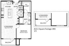 A13 – One Bedroom Apartment / One Bathroom  830 Square Feet
