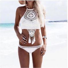 Boho bohemian style bikini with crochet, beads and tassels. BOUTIQUE - Brand new. Not triangl, here for views. Feel free to make me an offer through the offer button - NO TRADES.