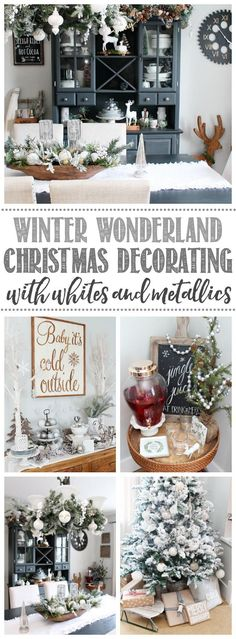 Farmhouse dining room Christmas decorations. Beautiful ideas for decorating any space with white and metallics. #Christmasdecor #Christmasdecorating #farmhouse