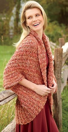 Free Crochet Pattern: Simple Crochet Shrug from Lion Brand - Requires 4 Balls of Yarn Crochet Bolero, Gilet Crochet, Crochet Shawls And Wraps, Crochet Jacket, Crochet Scarves, Crochet Clothes, Knit Crochet, Crochet Shrugs, Crochet Sweaters