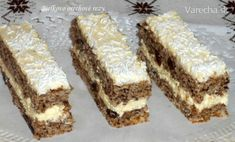 Bielkovo-orechové rezy (fotorecept) - recept | Varecha.sk Sweet Recipes, Cake Recipes, Fennel Soup, Czech Recipes, Rye Bread, Sweet Tooth, Nutella, Food And Drink, Cooking Recipes