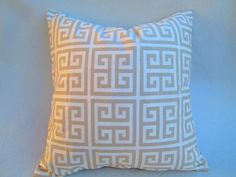 """Greek key towers Decorative throw pillow cover in taupe and white 18 """"X18"""" natural pillow, accent pillow, toss pillow. $16.00, via Etsy."""