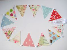 PVC Bunting Multi Patterned with Spots Cupcakes by OneLeggedGoose, Garden Bunting, Oilcloth, Etsy Handmade, Goodies, Shabby, Cupcakes, Pattern, Cards, Decor
