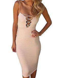 0d0a46a1108c Allegrace Womens Summer Sexy Strap Criss Cross Bodycon Party Evening Dresses