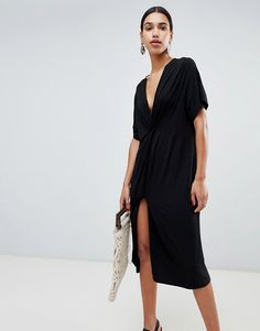 00eb9df8e5 DESIGN relaxed midi dress with knot front