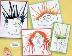 "draw a face and make ""hair"" with waterpaint blowing trough a straw"